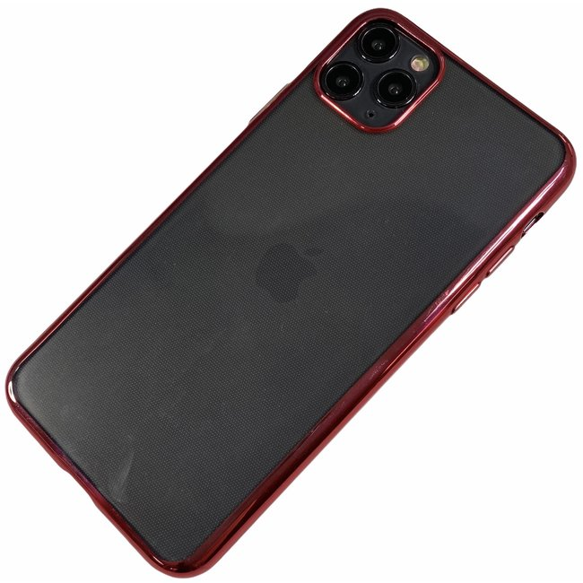 Apple iPhone 11 Pro Max - Silicone transparante soft hoesje Sophie rood