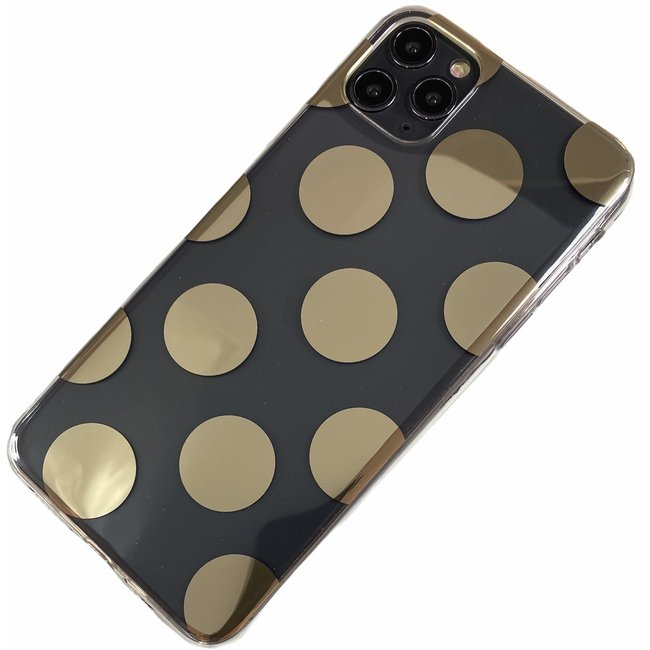 Apple iPhone 11 Pro - Silicone rondjes zacht hoesje Amy transparant brons