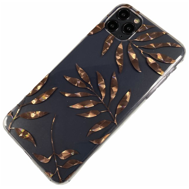 Apple iPhone 11 Pro Max - Silicone palm zacht hoesje Amy transparant brons