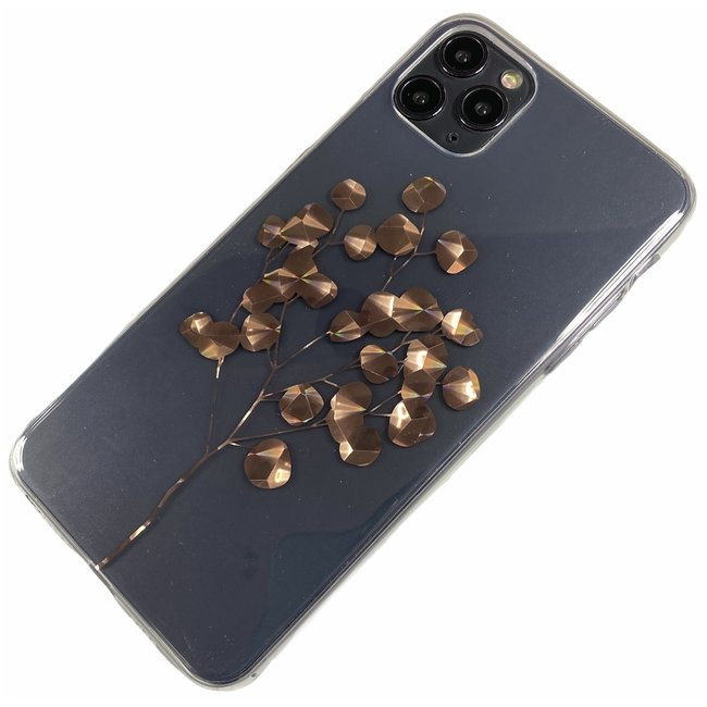 Apple iPhone 11 Pro Max - Silicone boom zacht hoesje Amy transparant brons