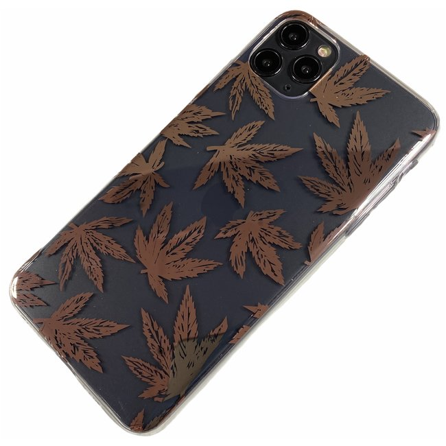 Apple iPhone X / Xs - Silicone blad zacht hoesje Amy transparant brons