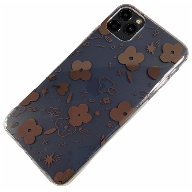 Apple iPhone 7 / 8 / SE - Silicone fun zacht hoesje Amy transparant brons