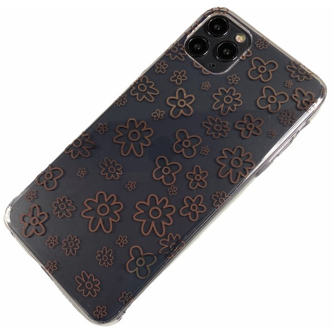 Apple iPhone 11 Pro Max - Silicone bloemen zacht hoesje Amy transparant brons