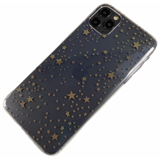 Apple iPhone 11 Pro Max - Silicone sterretjes zacht hoesje Amy transparant brons