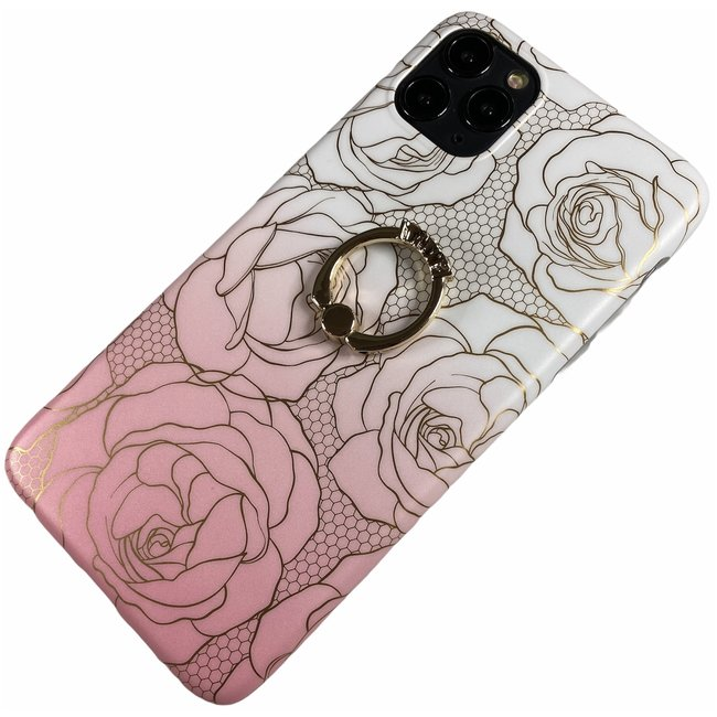 Apple iPhone 11 Pro Max - Silicone ring rozen zacht hoesje Amber roze wit