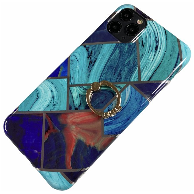 Apple iPhone 11 Pro Max - Silicone ring triangle zacht hoesje Juul blauw