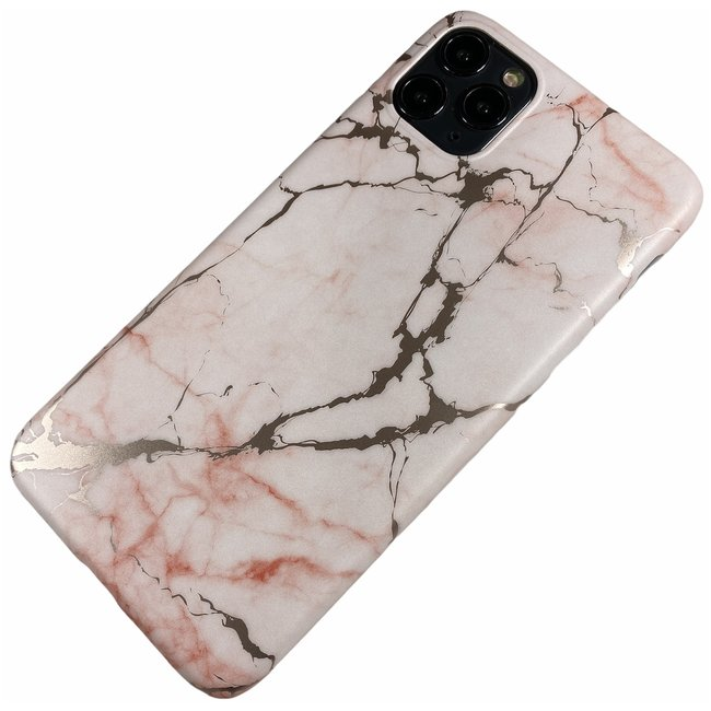 Apple iPhone 11 Pro Max - Silicone zacht hoesje Lina marmer roze