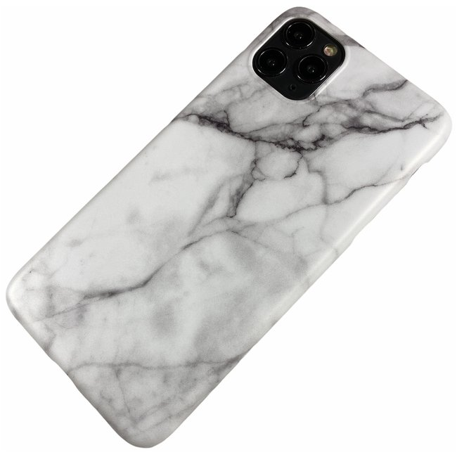 Apple iPhone 11 Pro Max - Silicone marmer zacht hoesje Elise wit