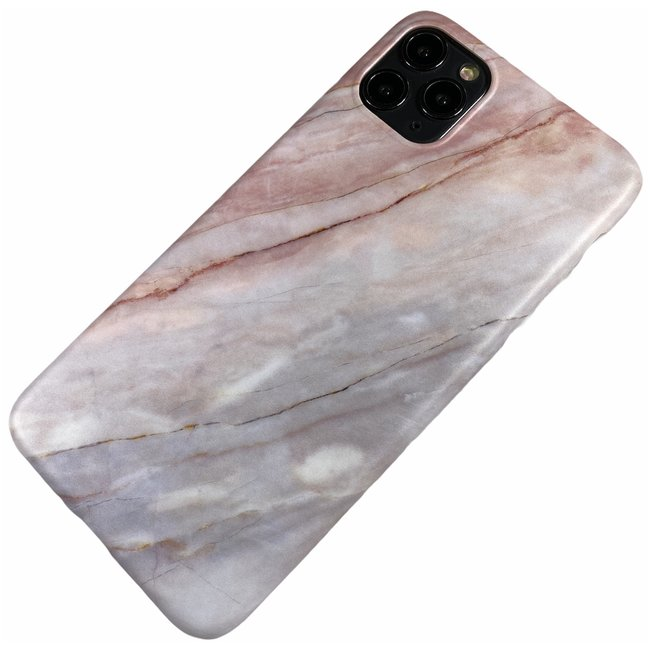 Apple iPhone 11 Pro Max - Silicone marmer zacht hoesje Laura roze