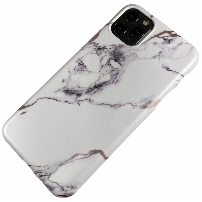 Apple iPhone 11 Pro Max - Silicone marmer zacht hoesje Lola wit