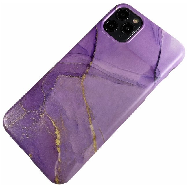 Apple iPhone 11 Pro Max - Silicone marmer zacht hoesje Nola paars