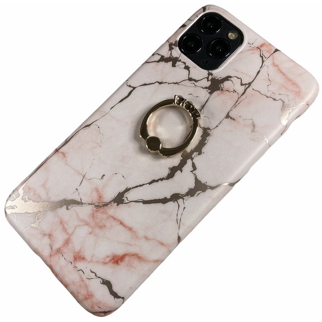 Apple iPhone 6 / 6s - Silicone zacht hoesje Lina marmer roze