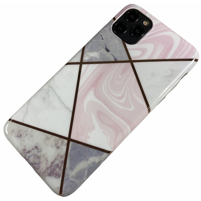 Apple iPhone 11 Pro Max - Silicone zacht hoesje Lena marmer wit roze