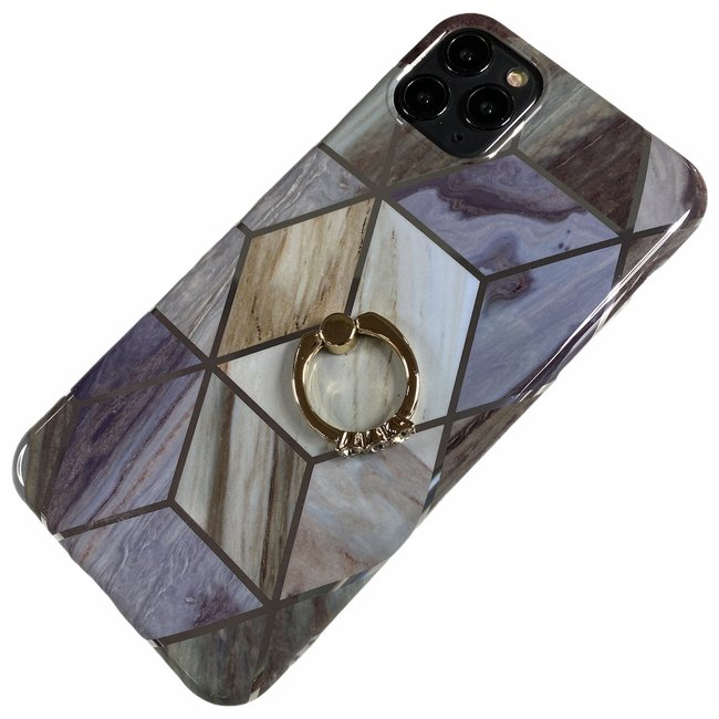 Apple iPhone Xr - Silicone ring triangle zacht hoesje Lilly grijs