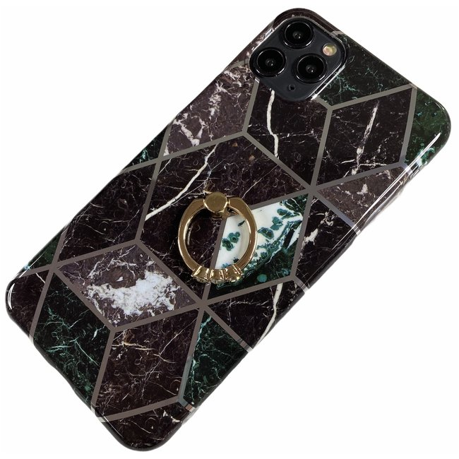 Apple iPhone 11 Pro Max - Silicone ring triangle zacht hoesje Lize zwart