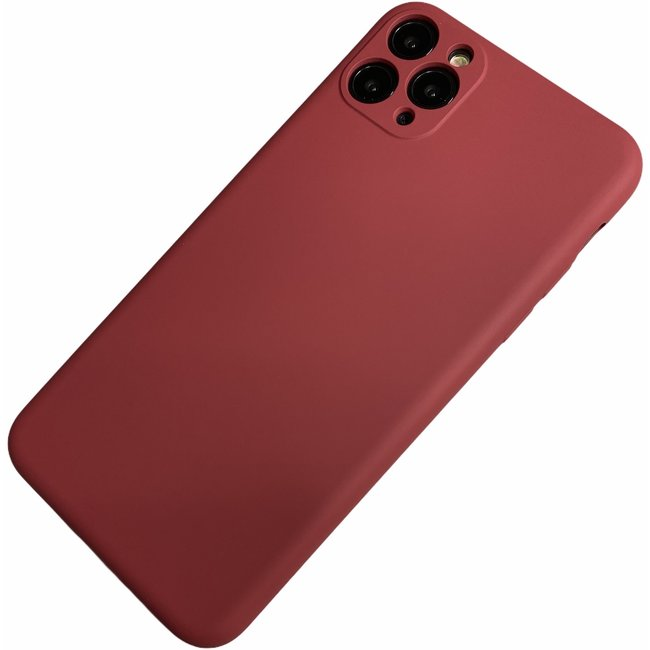 Apple iPhone 11 Pro Max - Silicone effen hoesje Tobias rood