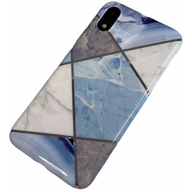Apple iPhone Xr - Silicone zacht hoesje Ivy marmer blauw