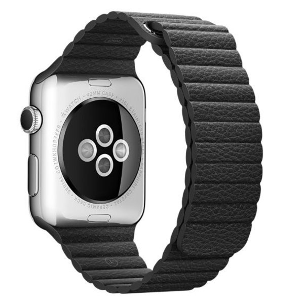 123Watches Apple watch PU leather ribbed band - black