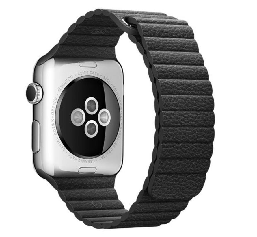 Apple Watch PU leder rippe band - schwarz