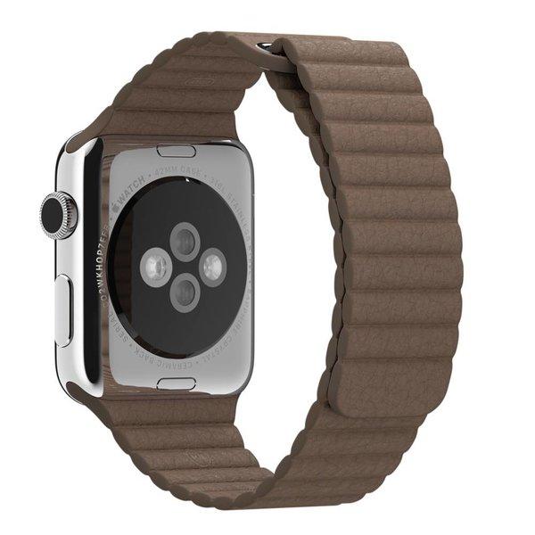 123Watches.nl Apple watch PU leren ribbel band - bruin