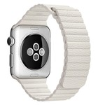 123Watches Apple watch PU leather ribbed band - white