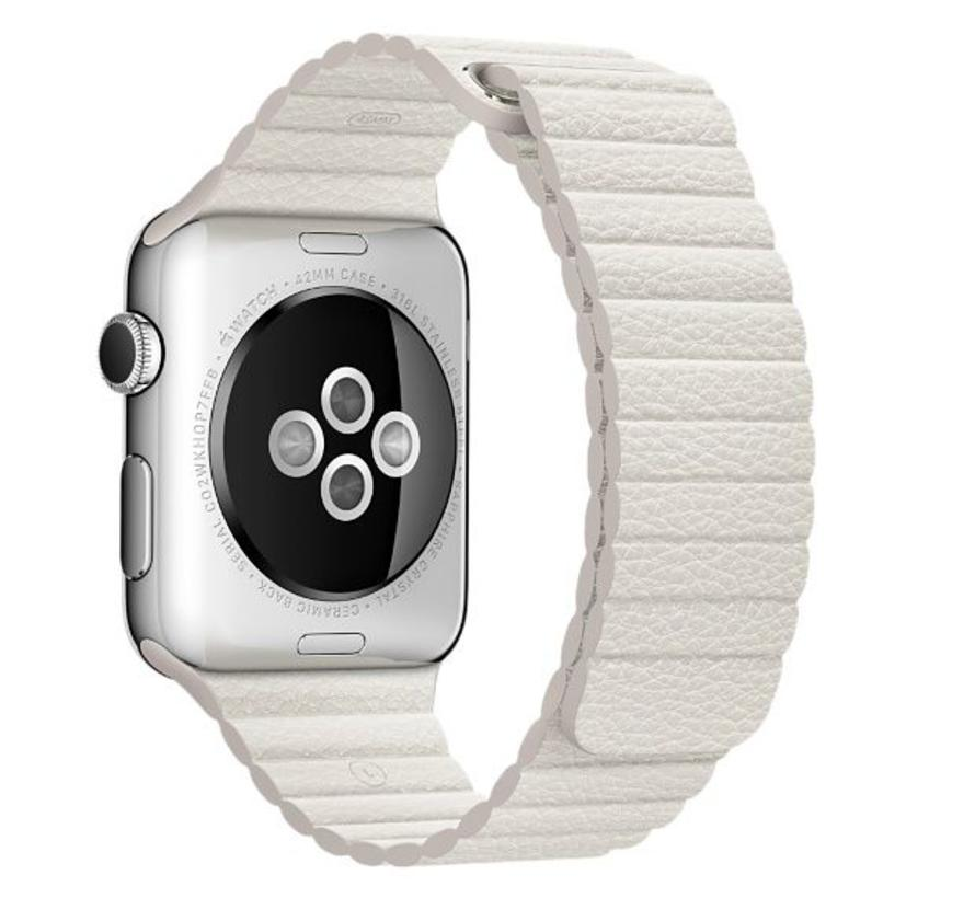 Apple Watch PU leder rippe band - weiß