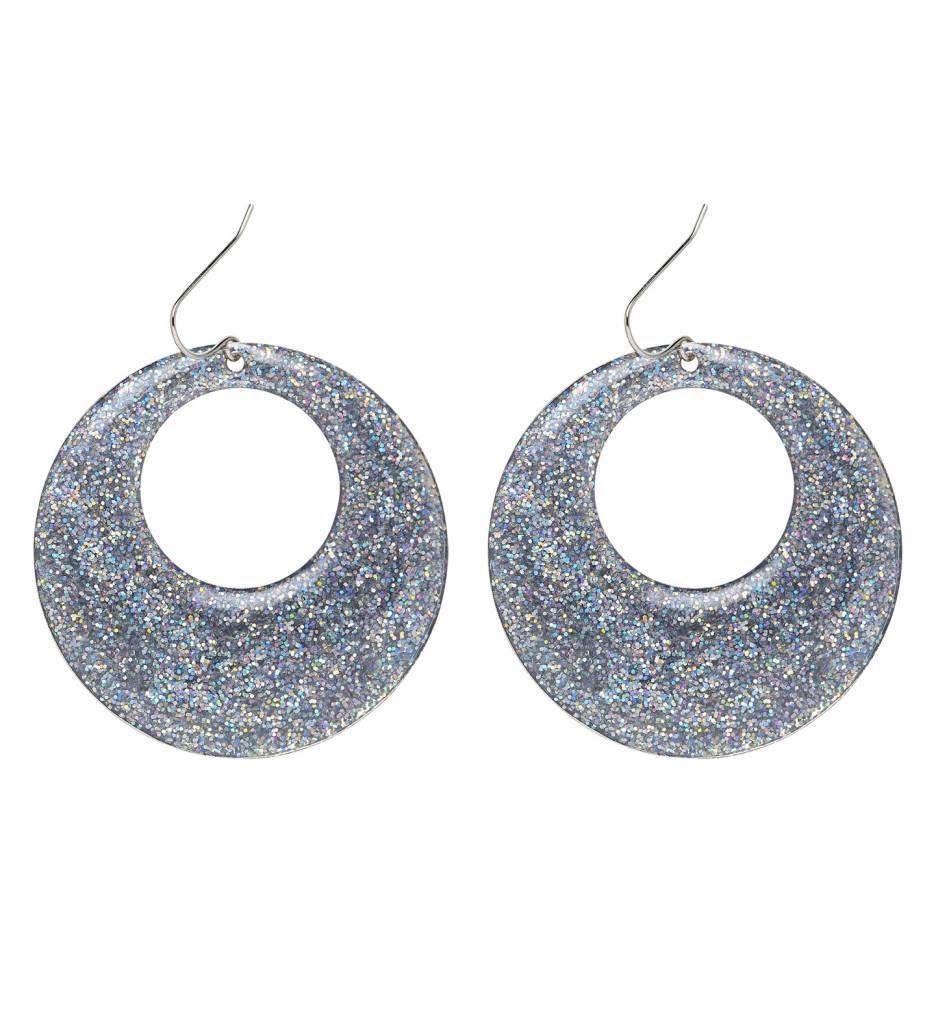Zilver Glitter Oorbellen