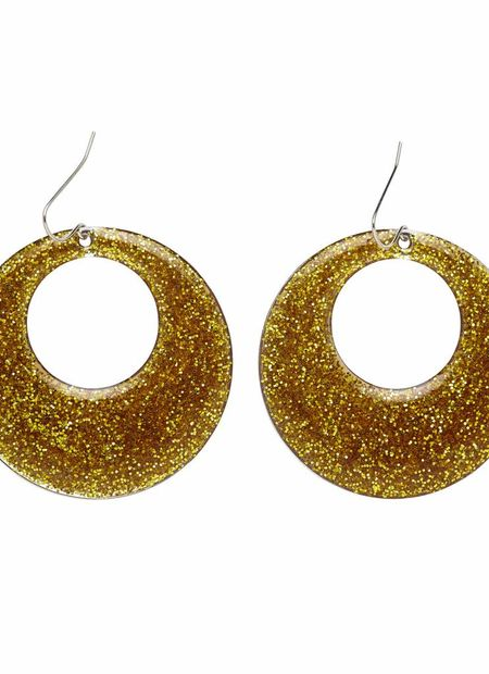 Gouden Glitter Oorbellen