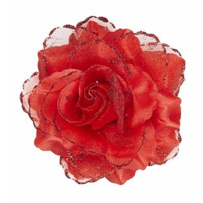 Haarclip Rode Roos Met Glitter
