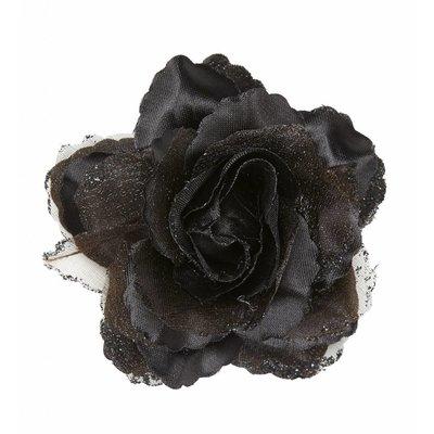 Haarclip Zwarte Roos Met Glitter