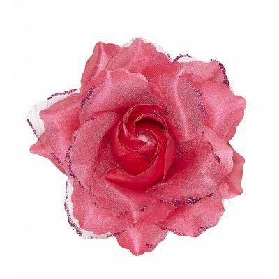 Haarclip Roze Roos Met Glitter