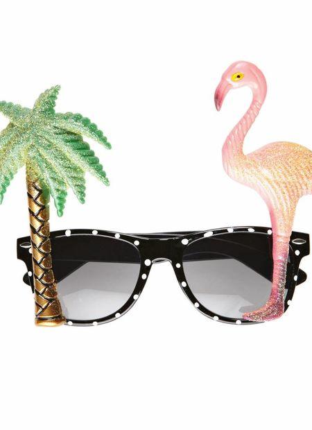 Bril, Flamingo En Palmboom