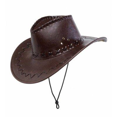 Cowboyhoed Lederlook Met Decoratie Bruin