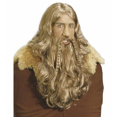 Pruik Viking Met Baard En Snor (In Plastic Doos)