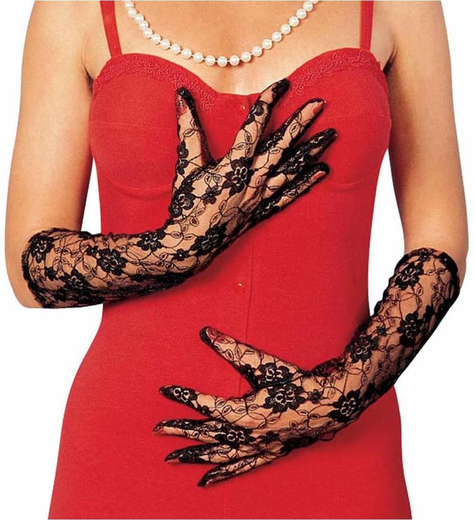 Kanten Handschoenen Zwart Lang