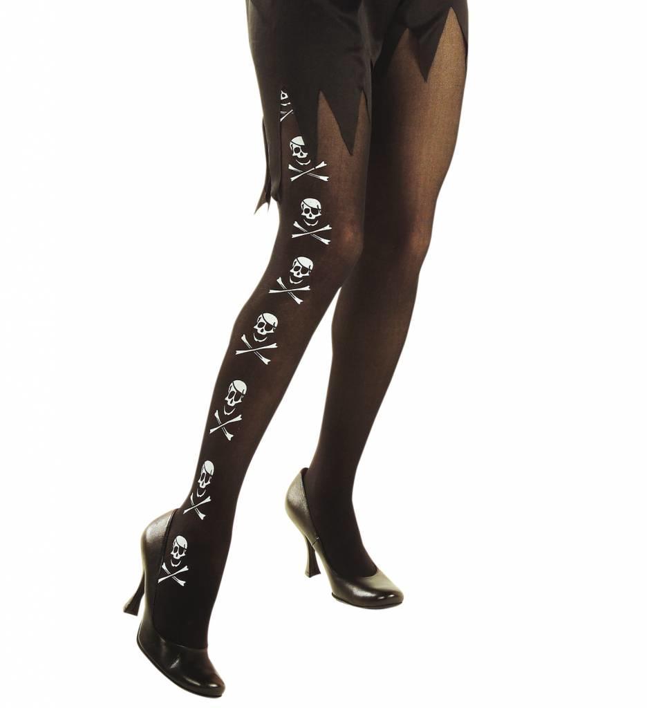 Panty Zwart Met Skelet En Botten