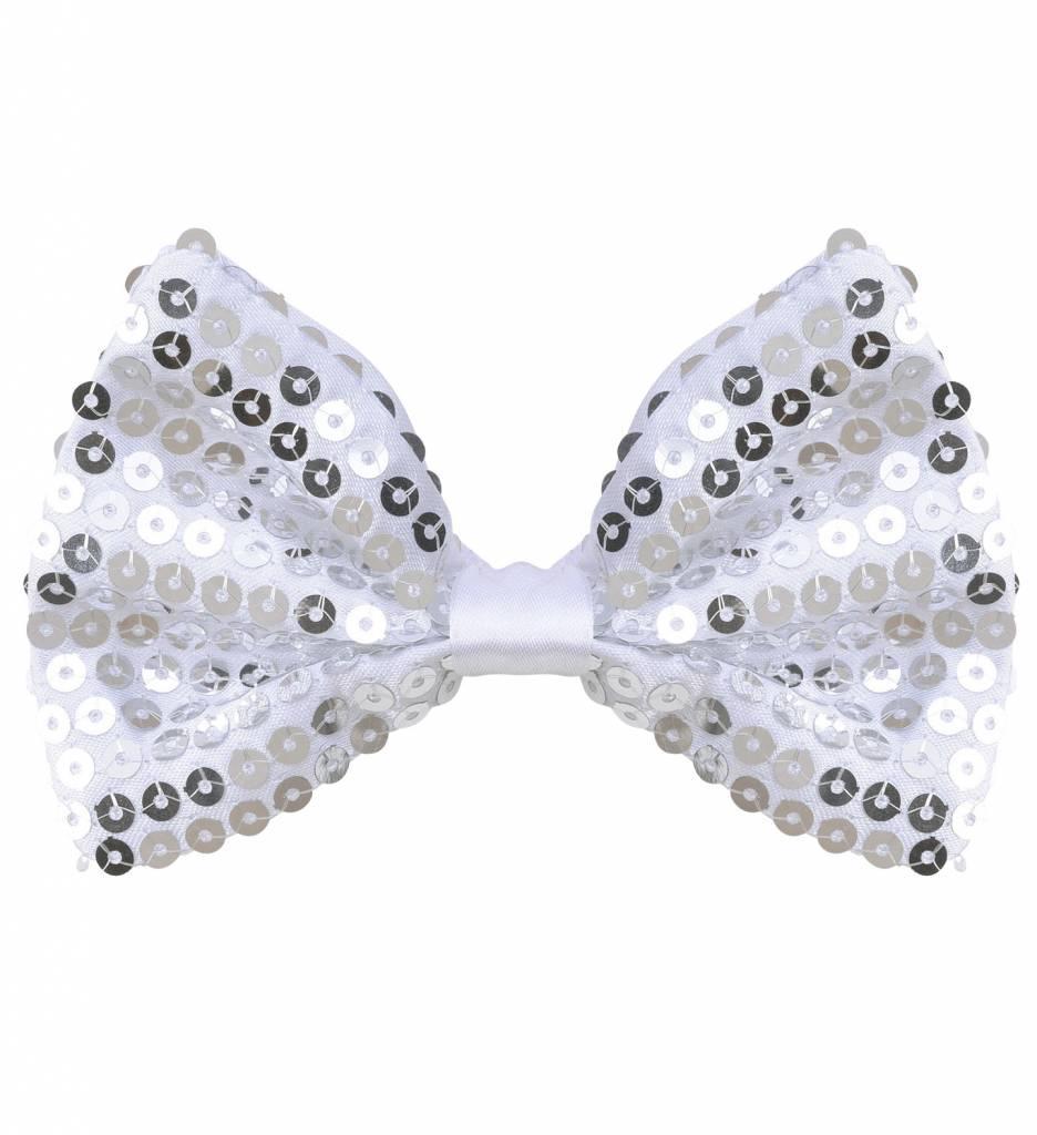 Vlinderstrik Pailletten Zilver