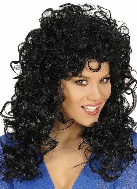 Pruik, Krulpruik Beauty Zwart