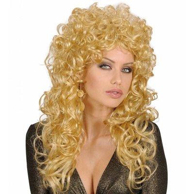 Pruik Krulpruik Beauty Blond