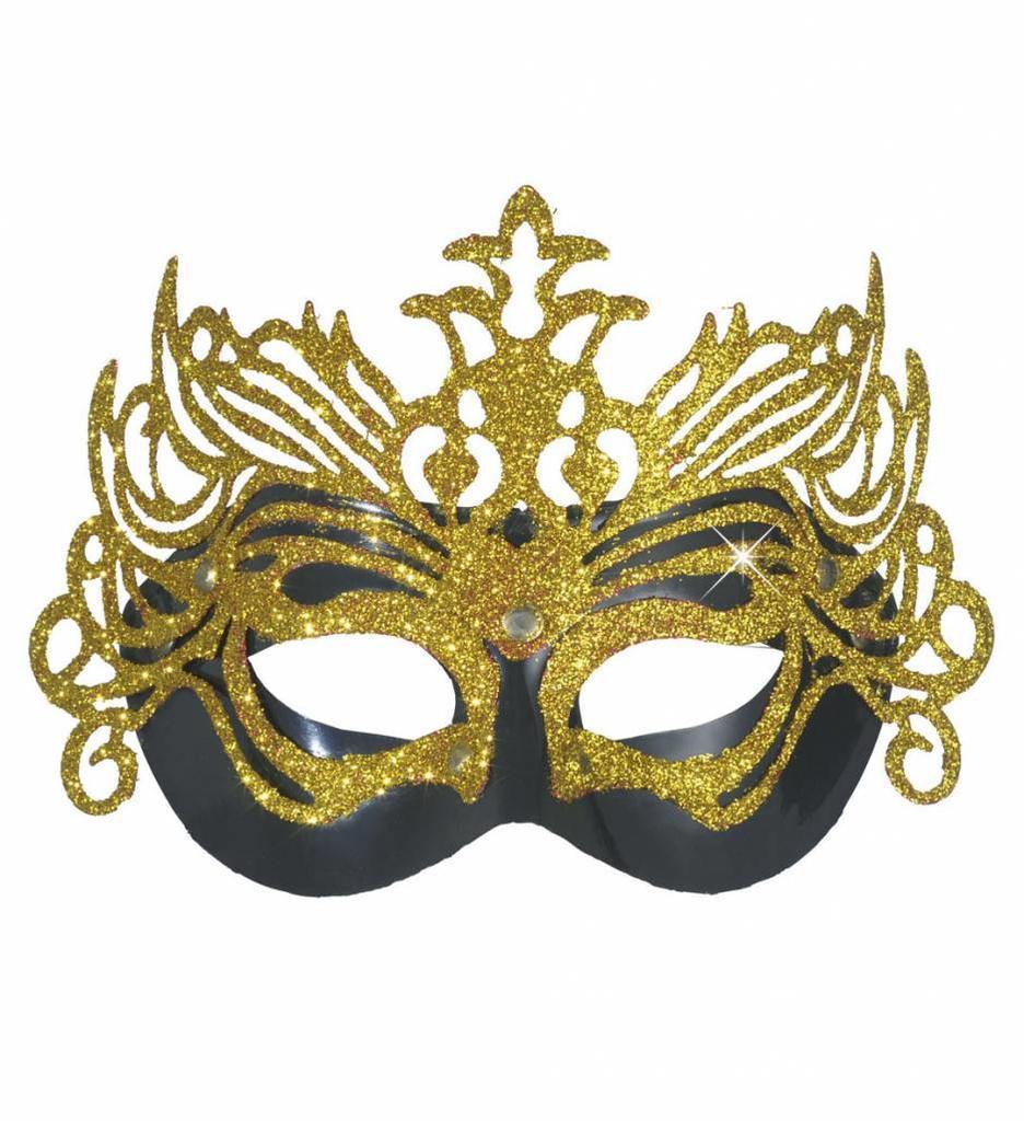 Oogmasker Carnaval Zwart Met Goud Opgezet