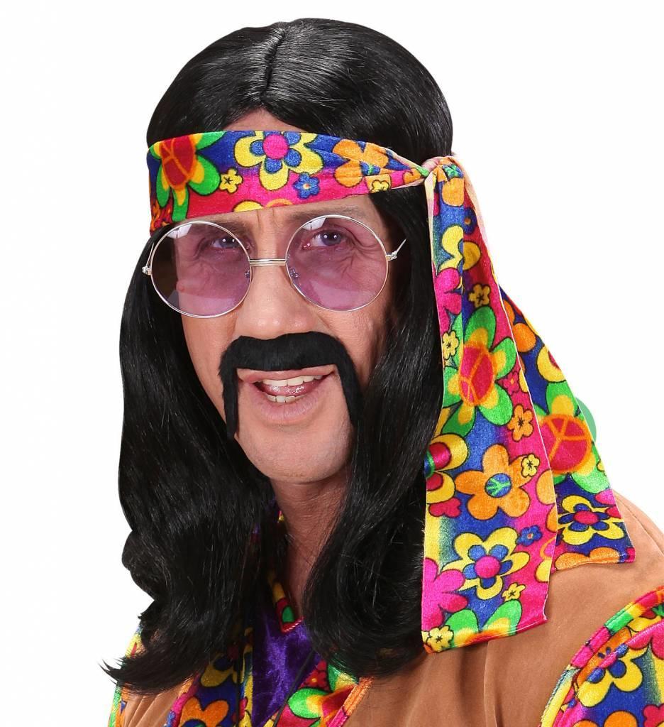 Pruik Hippie (Lennon) Zwart