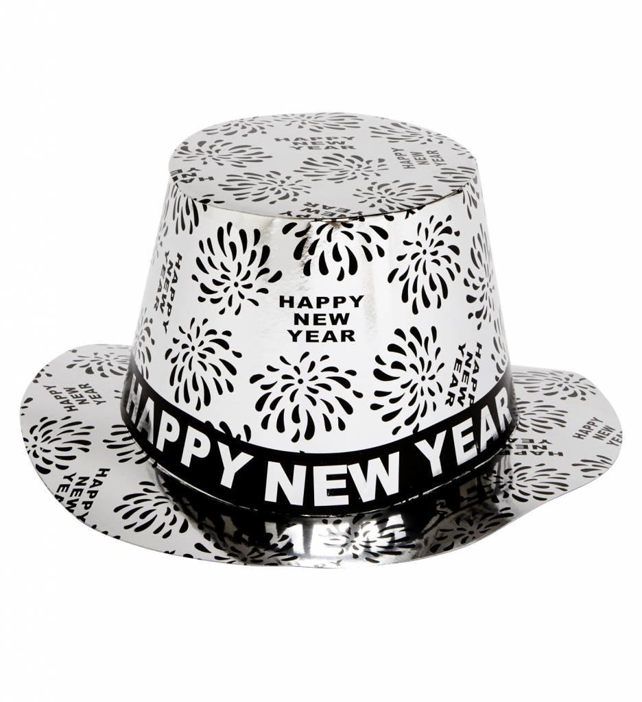Doos Met 50 Happy New Year Hoge Hoed Zilver