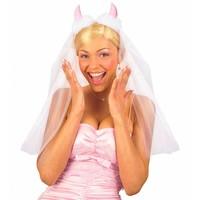 Widmann Bruidssluier Met Roze Duivelhoorntjes