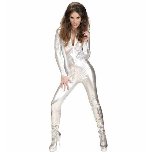 Widmann Catsuit Zilver Kostuum