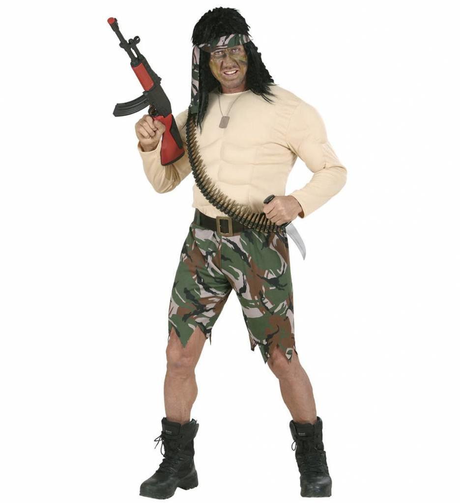 Spierballenshirt Soldaat Kostuum