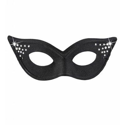 Oogmasker Kat Glamour Met Strass Zwart