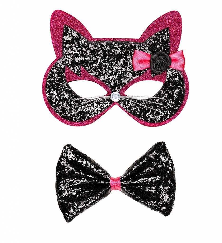 Oogmasker Kat Met Strikje Zwart/Roze