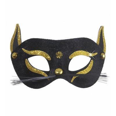 Oogmasker Zwarte Kat Met Goud Glitter