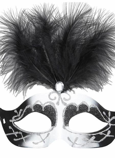 Oogmasker venetie zwart/wit