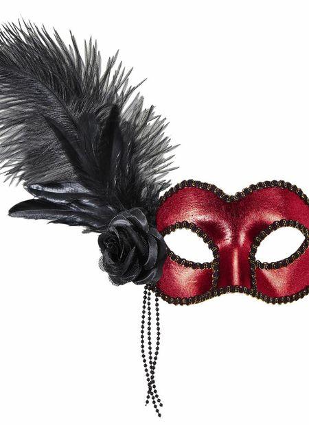 Oogmasker venetie rood met veren